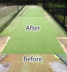 Before and After Cricket Pitch Cleaning